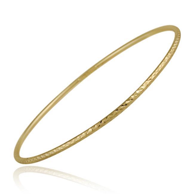 Mondevio 18k Gold over Sterling Silver Diamond-cut Bangle Bracelet