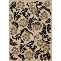 Dream Ivory Geometric Leaves Rug (2' x 3')