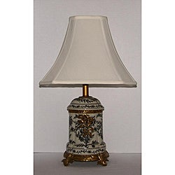 Black Floral Toile Off-white Table Lamp