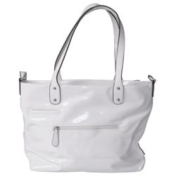 Journee Collection Ribbon Accent Patent Finish Tote Bag
