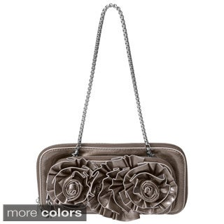 Journee Collection Floral Detail Patent Finish Clutch Bag