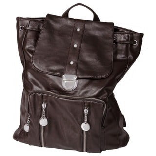 Journee Collection Women's Zipper Accent Faux Leather Fashion Backpack