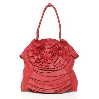 Journee Collection Floral Accent Pleated Tote Bag