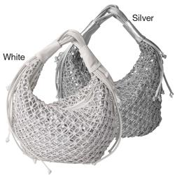 Journee Collection Woven Overlay Sequins Hobo Bag