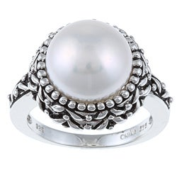 Pearls For You Sterling Silver White Freshwater Pearl Ring (11.5-12 mm)