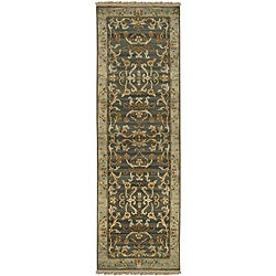 Hand-knotted Legacy Teal Wool Rug (2'6 x 8')
