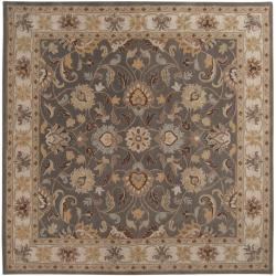 Hand-tufted Coliseum Gray Traditional Border Wool Rug (4' Square)