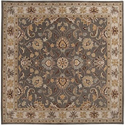 Hand-tufted Coliseum Gray Traditional Border Wool Rug (9'9 Square)