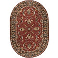 Hand-tufted Coliseum Rust Traditional Border Wool Rug(6' x 9' Oval)