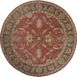 Hand-tufted Coliseum Rust Rust Traditional Border Wool Rug (9'9 Round)