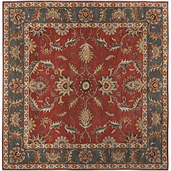 Hand-tufted Coliseum Rust Rust Traditional Border Wool Rug (9'9 Square)