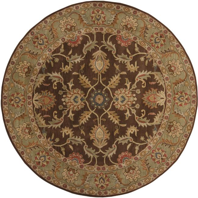 Hand-tufted Traditional Coliseum Chocolate Floral Border Wool Rug (4' Round)