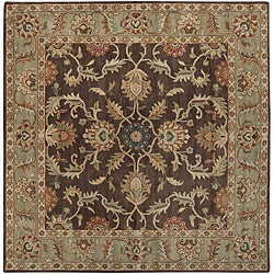 Hand-tufted Traditional Coliseum Chocolate Floral Border Wool Rug (4' Square)