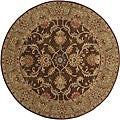 Hand-tufted Traditional Coliseum Chocolate Floral Border Wool Rug (6' Round)