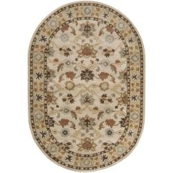 Hand-tufted Traditional Coliseum Vanilla Floral Border Wool Rug (8' x 10' Oval)