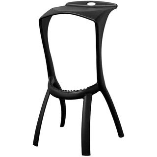 Zinley Black Molded Plastic Modern Bar Stools (Set of 2)