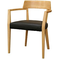 Laine Modern Light Wood Black Seat Dining Chairs (Set of 2)