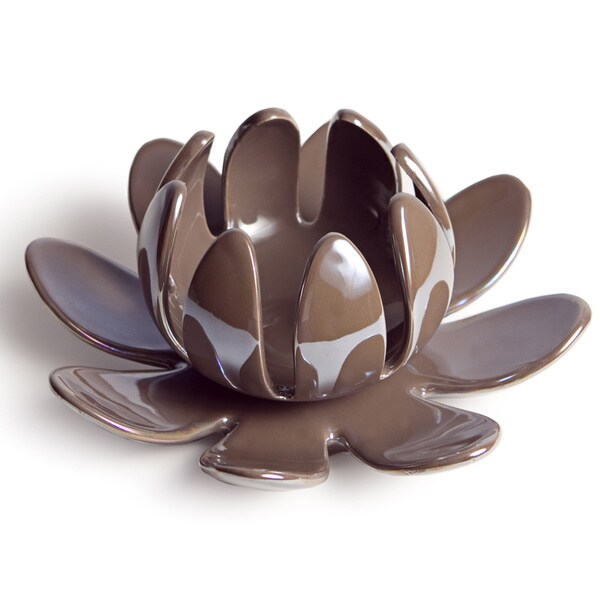 Lotus Flower Pearl Brown Porcelain Candleholder