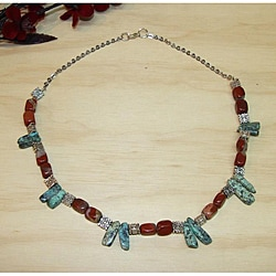 Susen Foster Silverplated Cowgirl Up Turquoise and Jasper Necklace