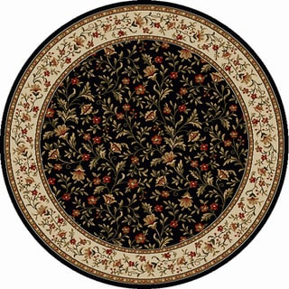 Amalfi Black Floral Rug (8' Round)