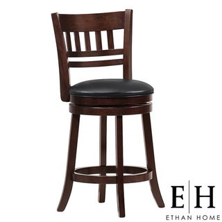 ETHAN HOME Verona Espresso Window Back Swivel 24-inch Counter Stool