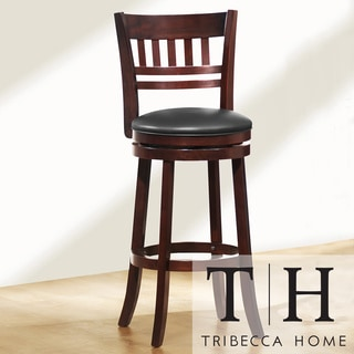 TRIBECCA HOME Verona Espresso Window Back Swivel 29-inch Barstool