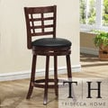 TRIBECCA HOME Verona Espresso Lattice Back Swivel 24-inch Counter Stool