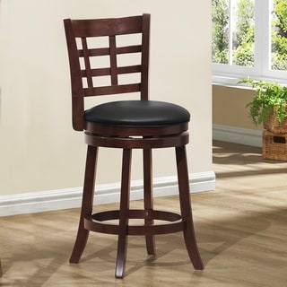 ETHAN HOME Verona Espresso Lattice Back Swivel 24-inch Counter Stool