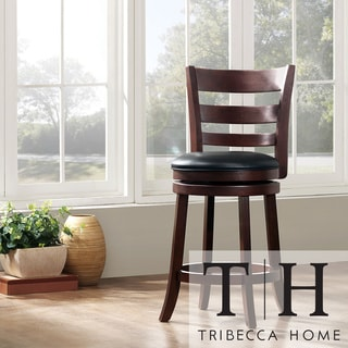 TRIBECCA HOME Verona Espresso Ladder Back Swivel 24-inch Counter Stool