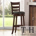 TRIBECCA HOME Verona Espresso Ladder Back Swivel 29-inch Barstool