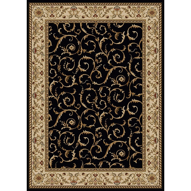 Amalfi Scroll Black Oriental Rug (7'9 x 11')