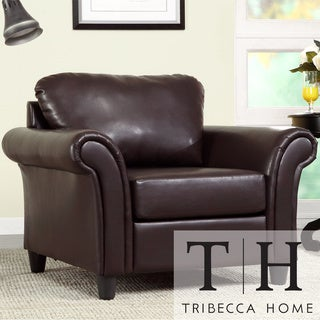 TRIBECCA HOME Petrie Dark Brown Faux Leather Rolled Arm Club Chair