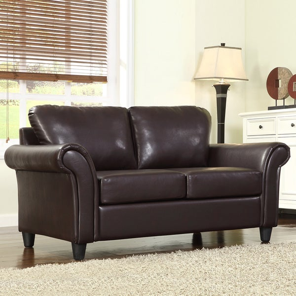 TRIBECCA HOME Petrie Dark Brown Faux Leather Rolled Arm Loveseat