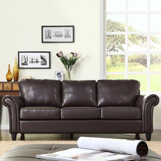 TRIBECCA HOME Petrie Dark Brown Faux Leather Rolled Arm Sofa