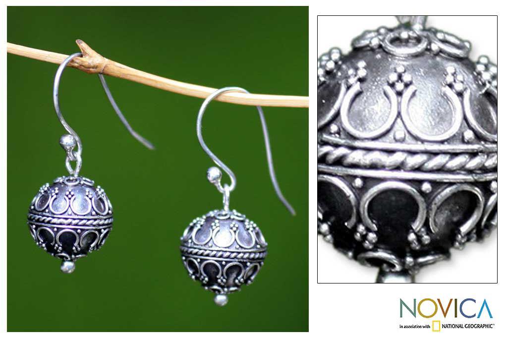 Sterling Silver 'Exotic Globe' Dangle Earrings (Indonesia)
