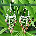 Sterling Silver 'Gold Ruffles' Peridot Tiger's Eye Earrings (Thailand)