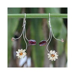 Stainless Steel 'Comet' Garnet Citrine Earrings (Thailand)