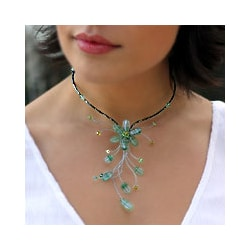 Stainless Steel 'Sea Green Forest' Quartzite Necklace (Thailand)