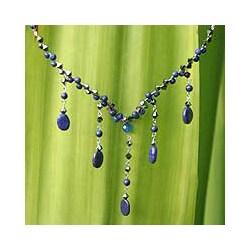 Stainless Steel 'Blue Empress' Lapis Lazuli Necklace (Thailand)