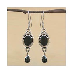 Sterling Silver 'Mystery' Onyx Drop Earrings (India)