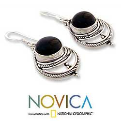 Sterling Silver 'Mystic' Onyx Earrings (India)