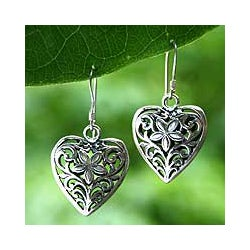 Sterling Silver 'Love Blossoms' Heart Earrings (Indonesia)