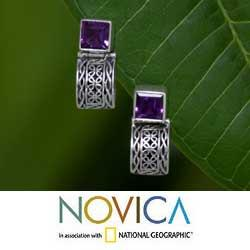 Sterling Silver 'Balinese Chic' Amethyst Dangle Earrings (Indonesia)