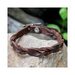 Leather 'Brown Trendsetter' Bracelet (Thailand)