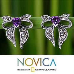 Sterling Silver 'Violet Heart' Marcasite Amethyst Earrings (Thailand)