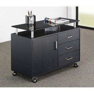 Deluxe Extra Wide Glass Top Rolling Storage Cabinet