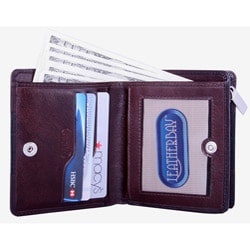Leatherbay Women's Mahogany Leather Accordion Wallet