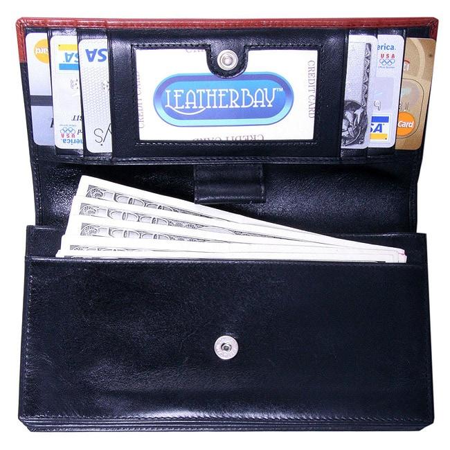 Leatherbay Women's Black/Cognac Leather Wallet