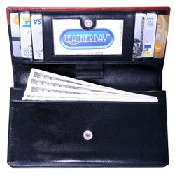 Leatherbay Women's Black/Cognac Leather Wallet