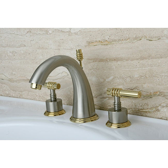 Brass Bathroom Faucets Widespread : Milano Widespread Satin Nickel/ Polished Brass Bathroom Faucet ...